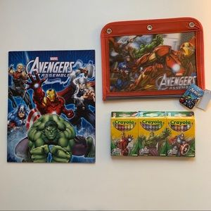 Set- Avengers 3 Ring Pencil Case, Crayons, Folder